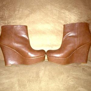 Shoes - Brown Wedge Booties! Cute!